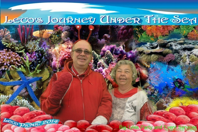 couple in under the sea costumes for company picnic