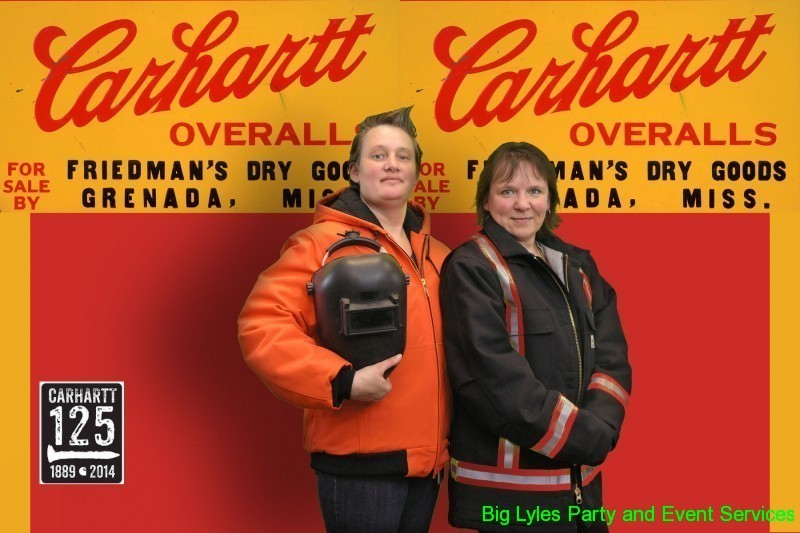 tow women in front of Carharrt sign