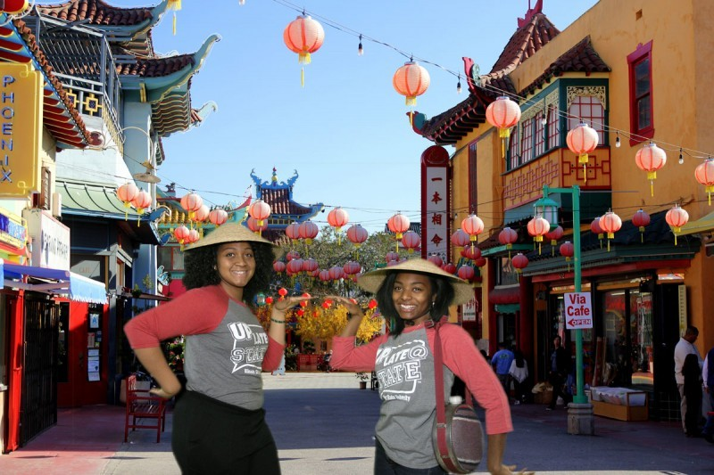 Friends visit China Town for the day to celebrate Chinese new years