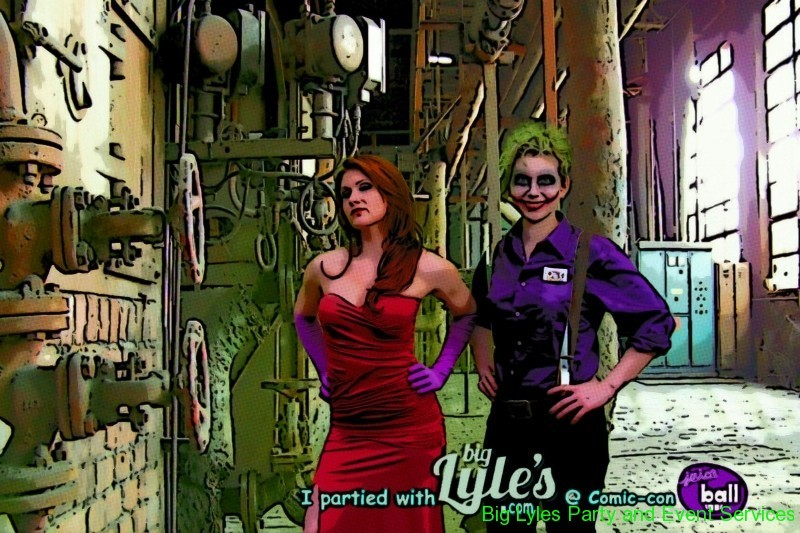 Picture of People in costumes made to look  like a comic