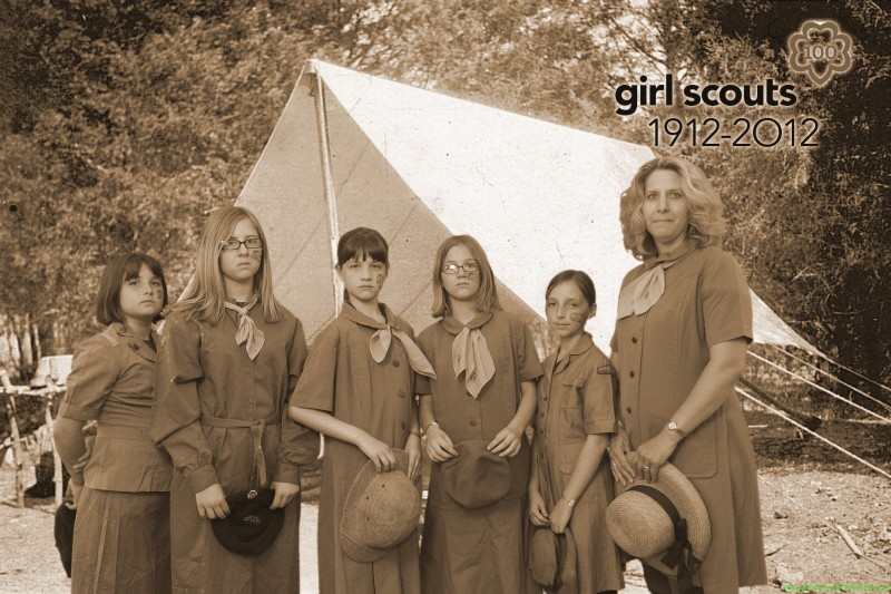 Girls Scouts with troop leader