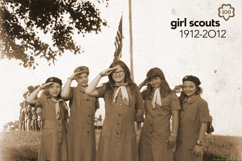 Girl Scouts by flag