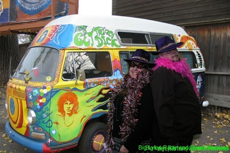 couple in fun hats by hippy van