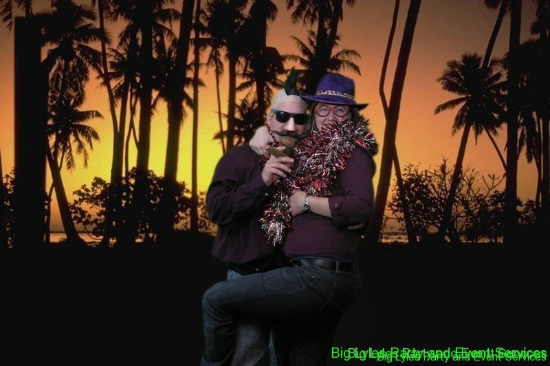 Romantic picture of silly couple,Green screen photography for fun photo options