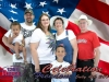 Family in front of Flag