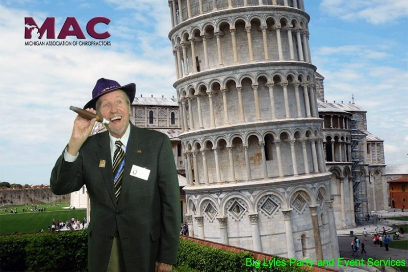 Man with cigar by Leaning tower of Pesa