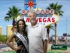 Dave Rozema in front of  Las Vegas sign with Miss Michigan