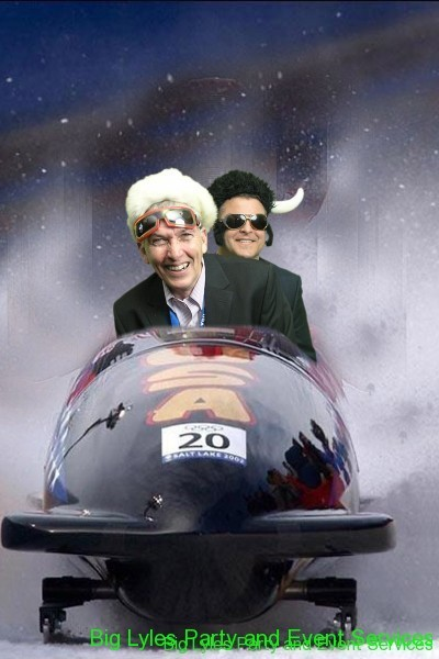 Men with crazy hats in a bobsled