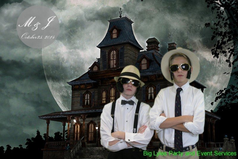 two groomsmen at haunted house