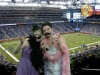Bride and bridesmaid at Ford Field