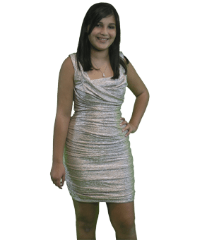 Girl with dark hair in a sliver dress