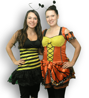 two girls in bug costumes