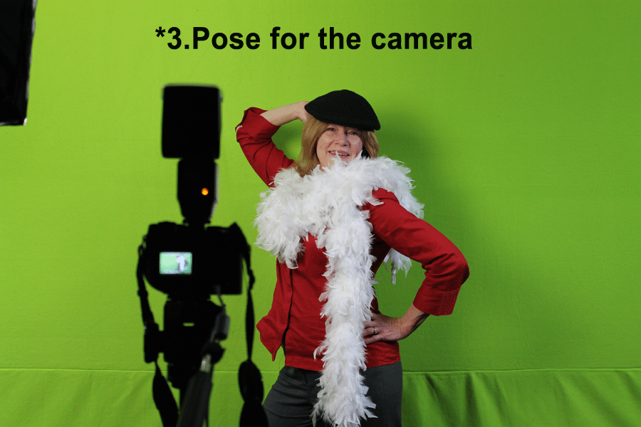 Model for green screen photo shoot