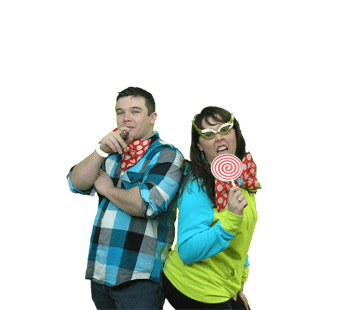 College students posing for green screen photographer