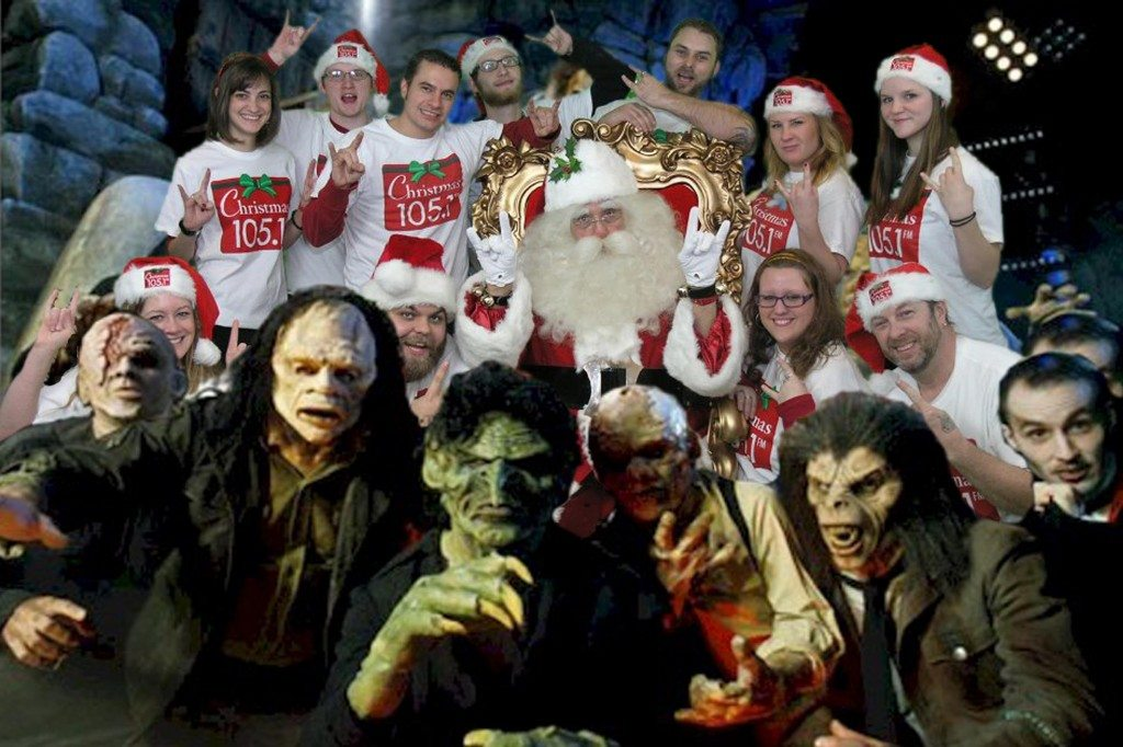 Santa and crew in picture with Zombies