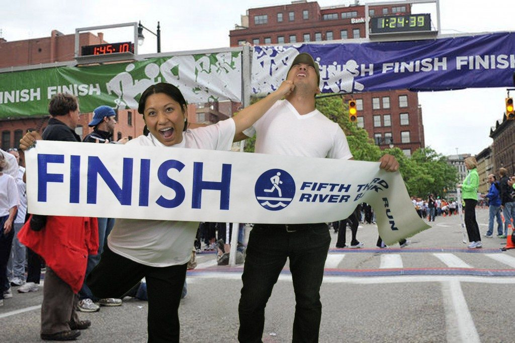 Guys and gales compete to be first across finish line at the 2014 Fifth Third Rive bank run