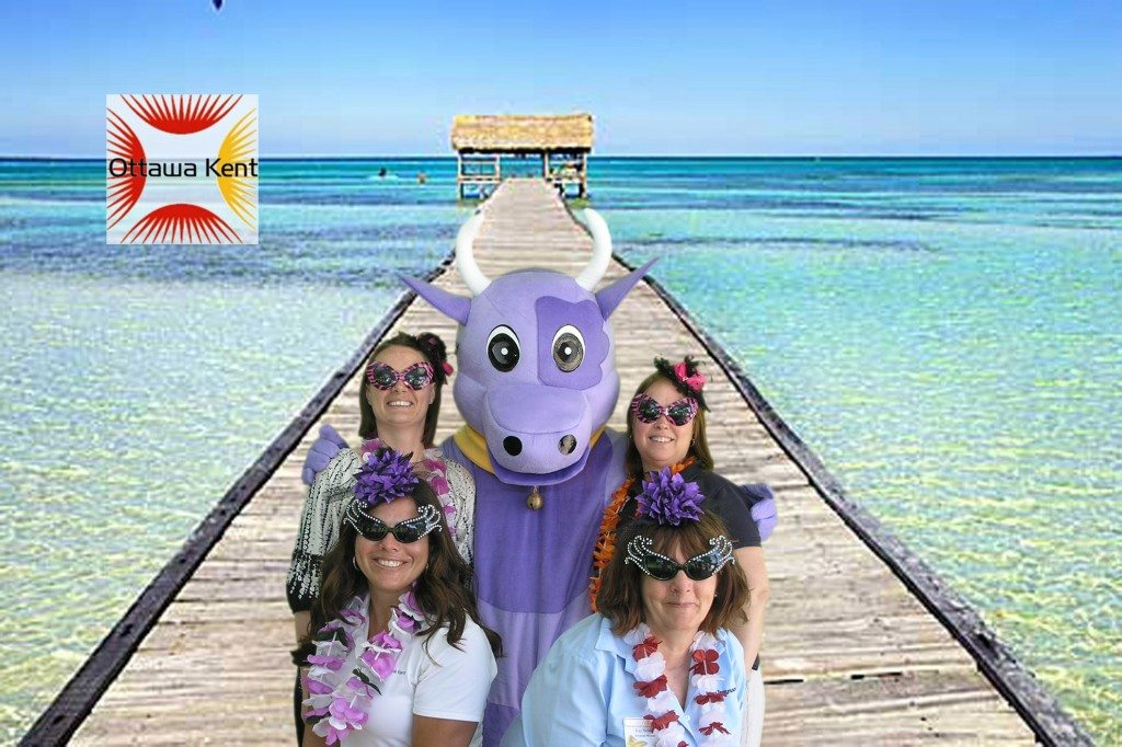 Purple cow and girls on the