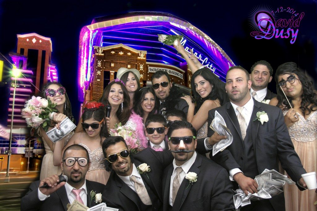 bridal party in front of Detroit casino