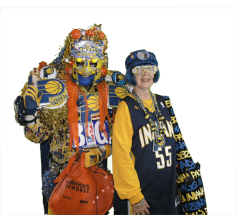 Pacers Fan in Crazy costume