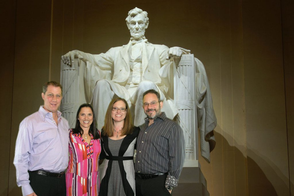 Couples stand in front of Lincoln monument!