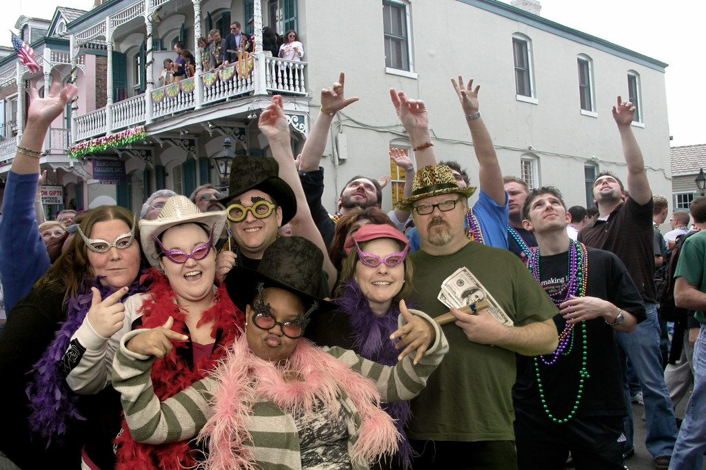 Group parties in the Mardi Gras parade!