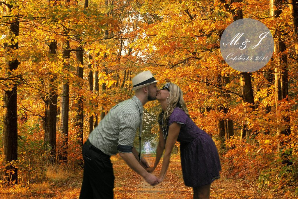 Couple poses for picture with cute pose!