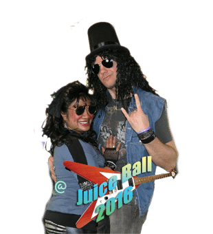 couple dressed in 80's style clothes